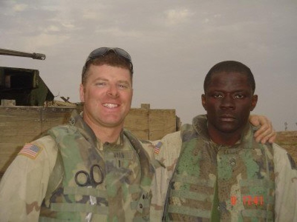Alwyn Cashe and one of his officers in Iraq prior to his vehicle being hit with an IED.