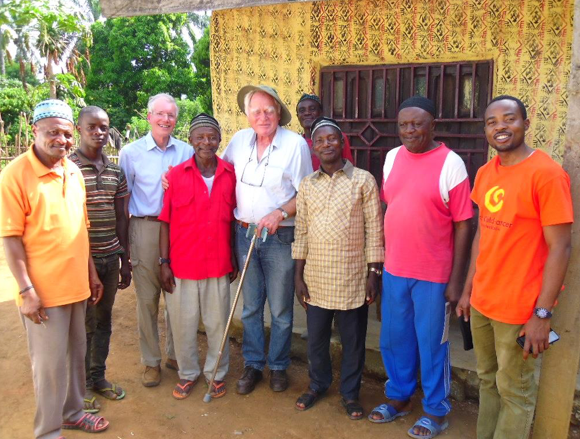 At Ntaba village. In the centre: the village practitioner (red shirt), Prof Hesseling (with stick) and Paul Tanwarong