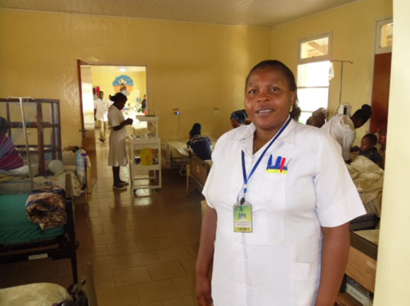 Sister Comfort Kimbi and the new paediatric oncology ward at MBH. This photo does not show the nursing station, isolation room, treatment room and counselling room - all purpose-designed