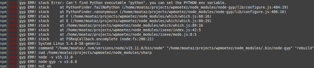 Linux mint node-gyp Can't find Python executable