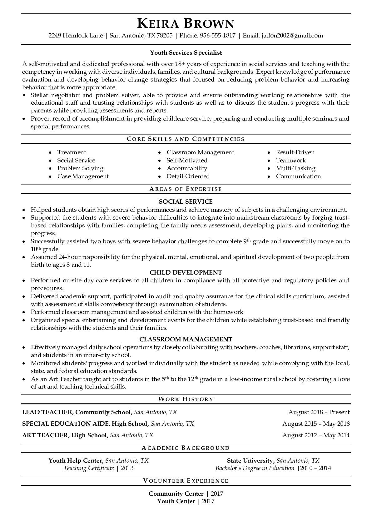Youth Services Specialist Resume Examples