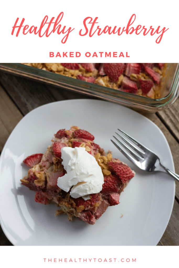 Healthy strawberry baked oatmeal Pinterest image