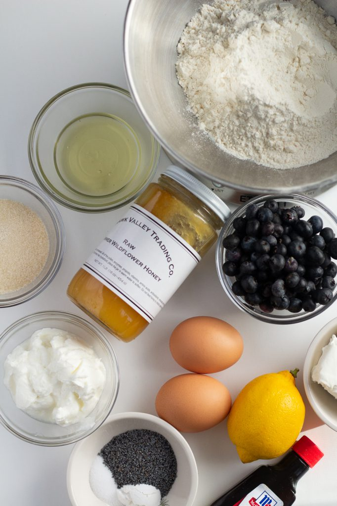 Ingredients for healthy lemon blueberry bread