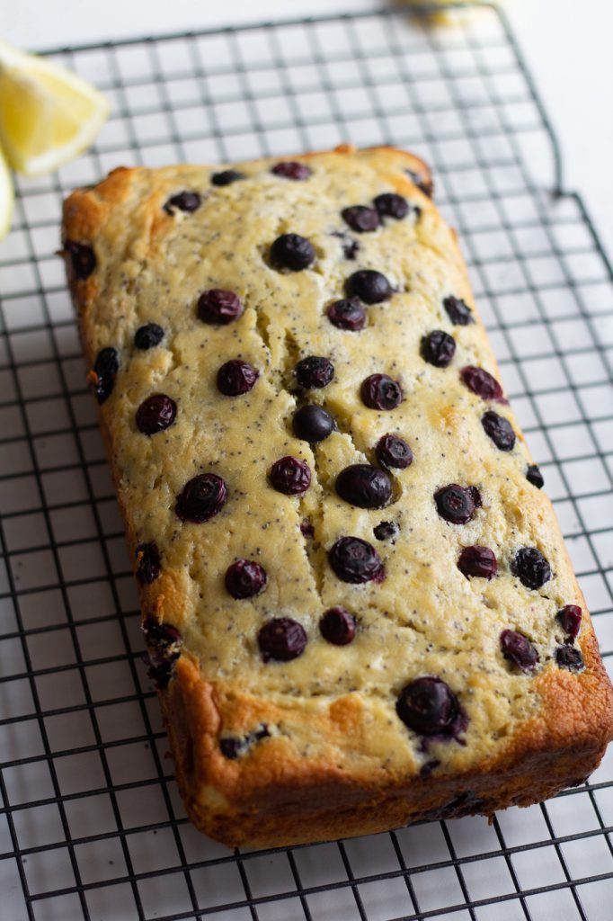 Healthy lemon blueberry bread on cooling rack
