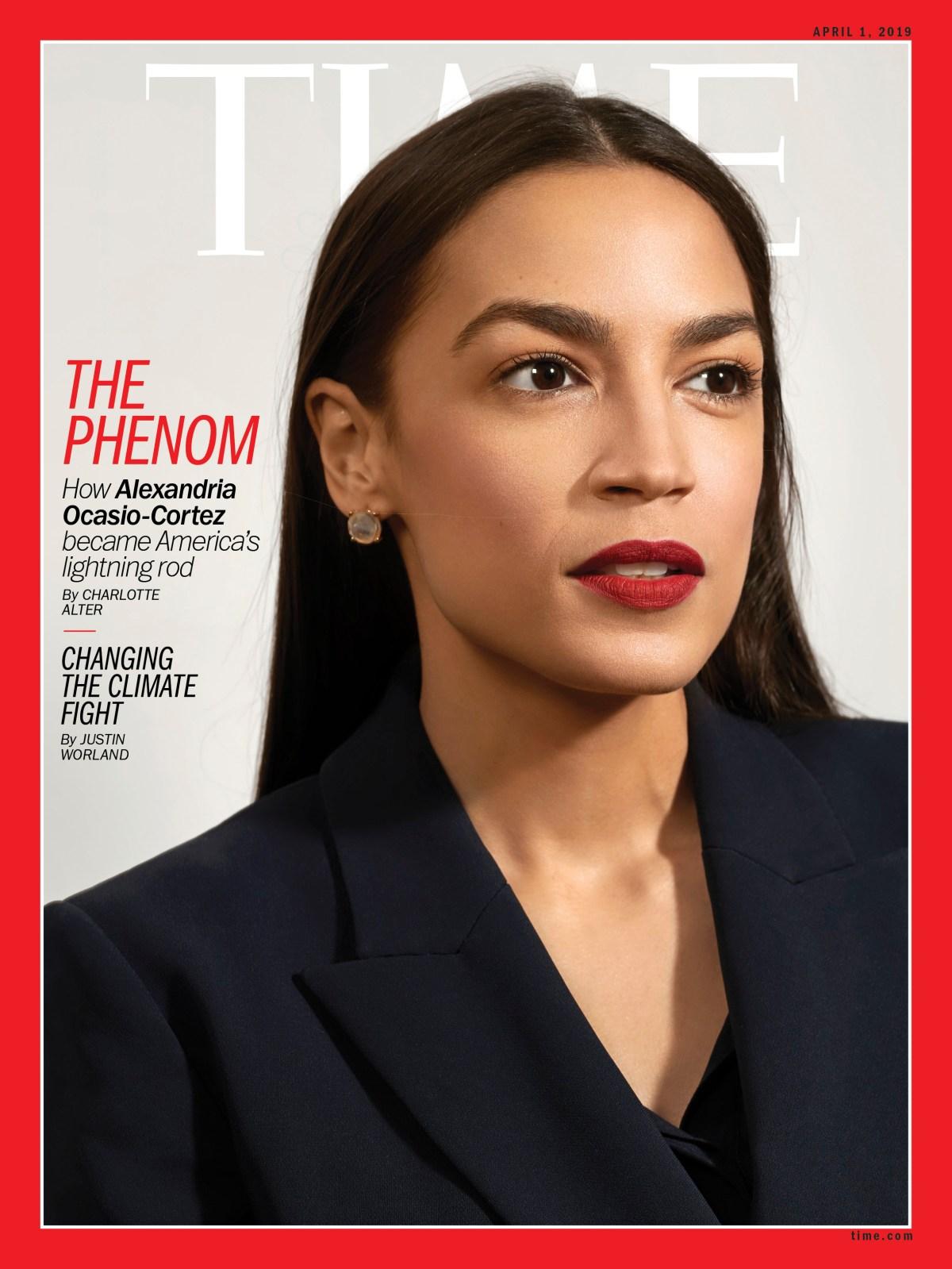 Portada de la revista Time, con la fotografía de Alexandria Ocasio-Cortez.