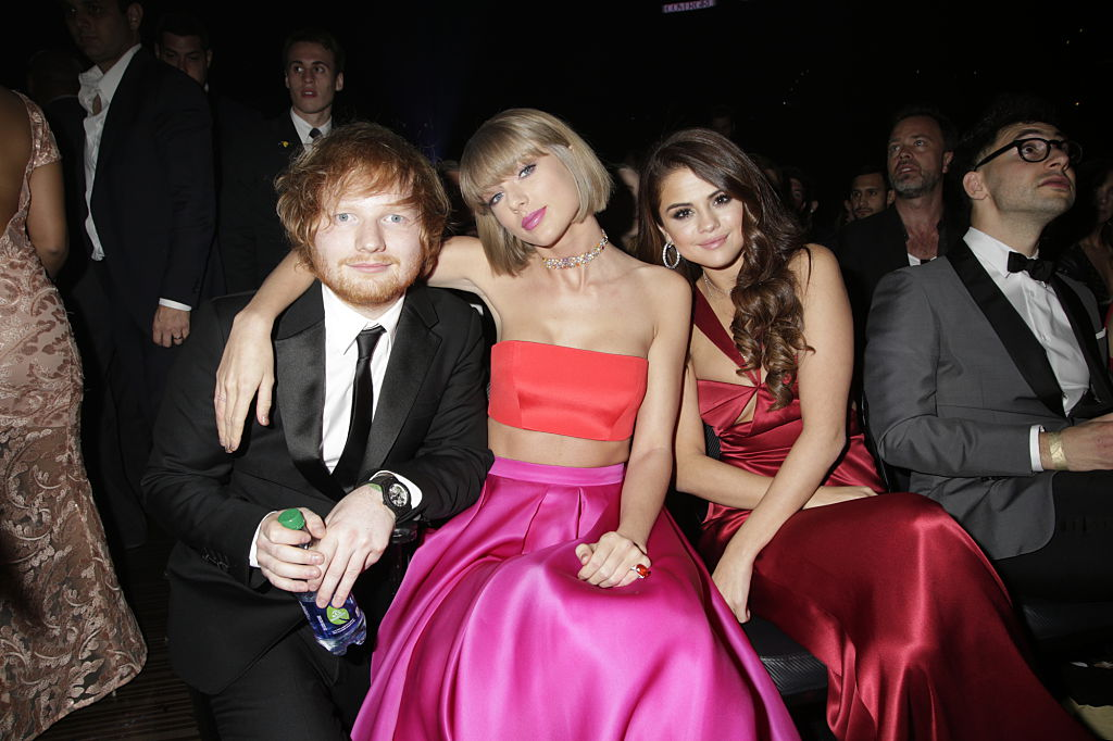 Ed Sheeran, Taylor Swift, and Selena Gomez in the audience at The 58TH ANNUAL GRAMMY AWARDS on Monday, Feb. 15, 2016.