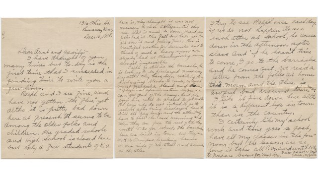 Learning From a Letter Written During the 30 Flu Pandemic  Time