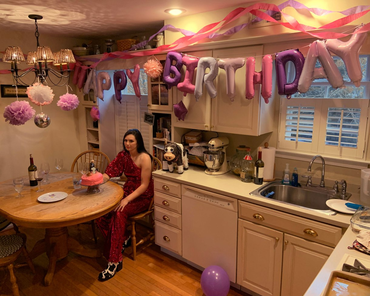 Brooke Yarsinsky, Drexel University Class of 2020, celebrating her birthday in her family's kitchen in Marlton, N.J.
