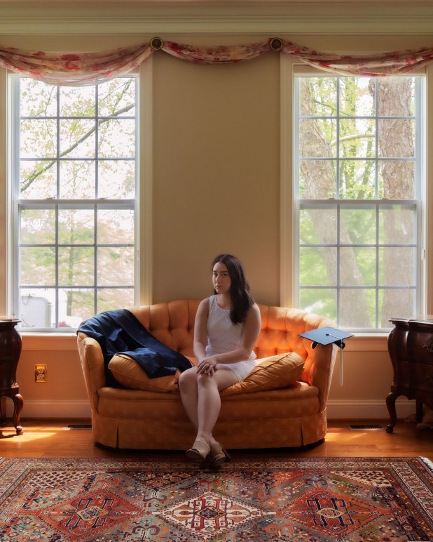 Kathryn Murashige, Drexel University Class of 2020, in the sunroom of her childhood home in Kennett Square, Pa.