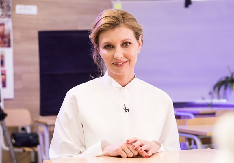 Olena Zelenska, wife of Ukrainian's President Volodymyr Zelenskiy, attends an online school lesson in Kyiv, Ukraine.