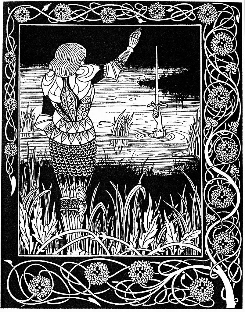 Excalibur being reclaimed by the Lady of the Lake, 1893. A hand emerging from the lake to reclaim Excalibur, the sword which, according to legend, the young Arthur pulled from the stone to prove he was the rightful king. The sword was returned to the lake upon Arthur's death. From Thomas Malory's Le Morte Darthur.