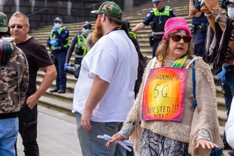 Many protesters blame 5G technology for the Coronavirus during the Coronavirus (COVID-19) Anti-Lockdown Protest at Parliament House in Melbourne on May 10, 2020.