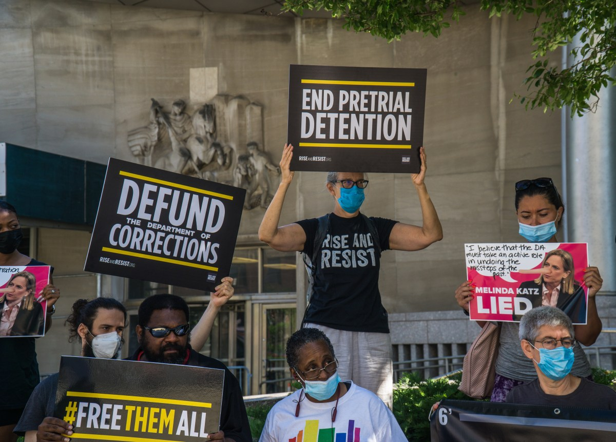 New York City residents and community groups protest and demand that Queens District Attorney Melinda Katz takes immediate action to stop the spread of COVID-19 in the borough's jails.