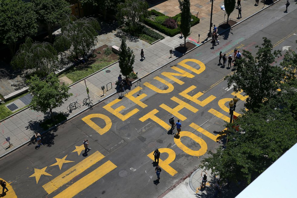 """""""Defund The Police"""" was painted on the street near the White House in Washington, D.C."""