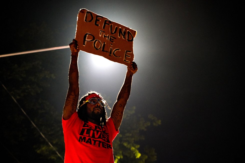 Demonstrators gather for a protest after an Atlanta police officer shot and killed Rayshard Brooks, 27, at a Wendy's fast food restaurant drive-thru in Atlanta, on June 14, 2020.