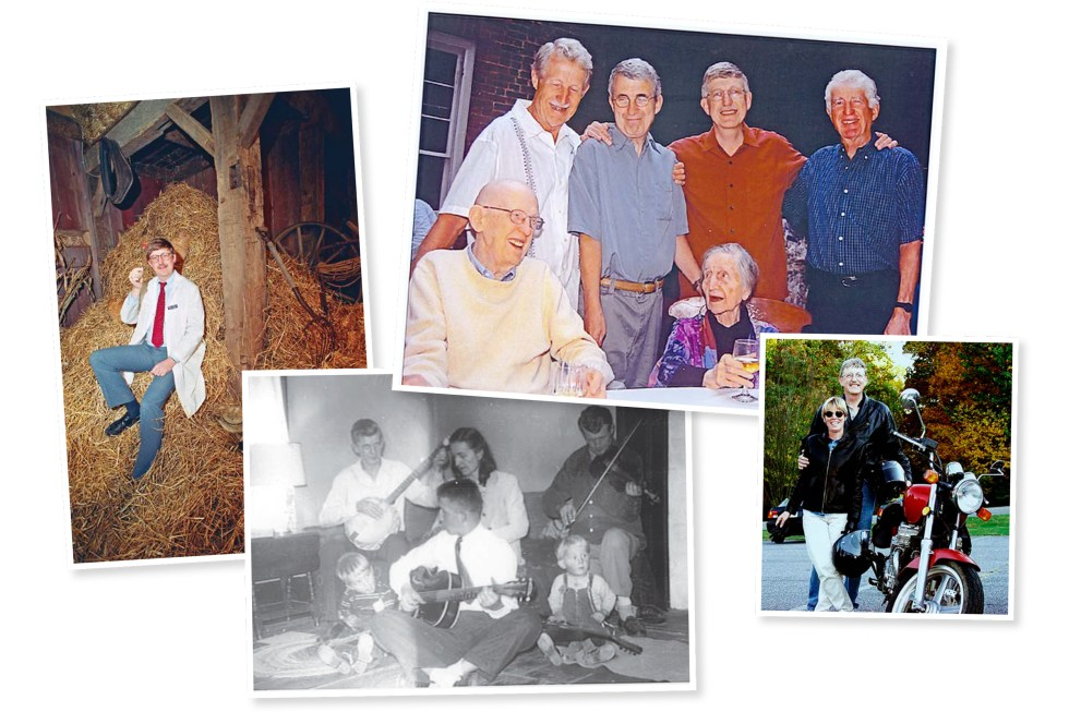 From left: Collins illustrating the challenge of gene hunting in 1989; with family in 1951 and 2003; with his second wife Diane Baker in 2004