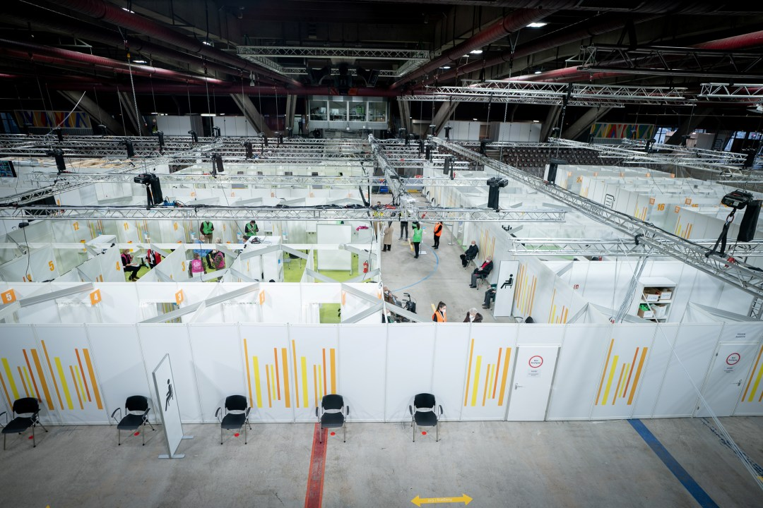 A view of a temporary COVID-19 vaccination center in the Erika-Hess ice stadium in Berlin on Jan. 14, 2021.