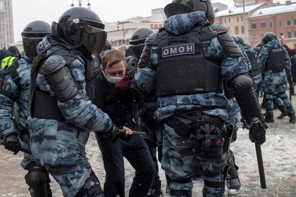 Some 5,100 people were reportedly detained across Russia on Jan. 31, including more than 1,600 in Moscow, shown here.