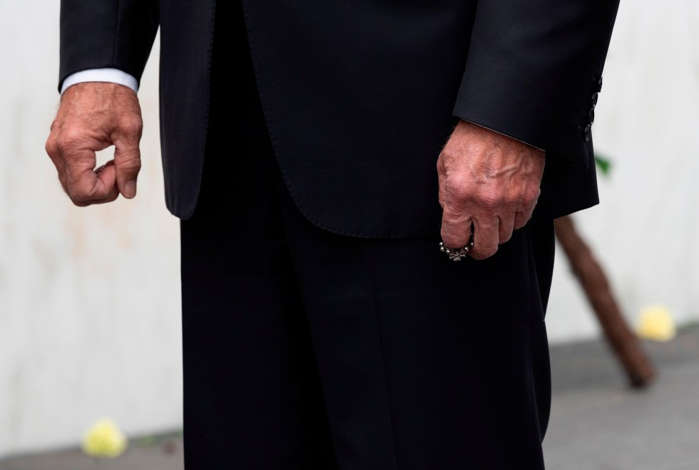 Biden clutches a rosary after laying a wreath on Sept.11, 2020, at the Flight93 National Memorial, near Shanksville, Pa.