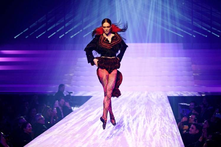 A model presents a creation by Jean-Paul Gaultier during the women's Spring/Summer 2020 Haute Couture collection fashion show in Paris.