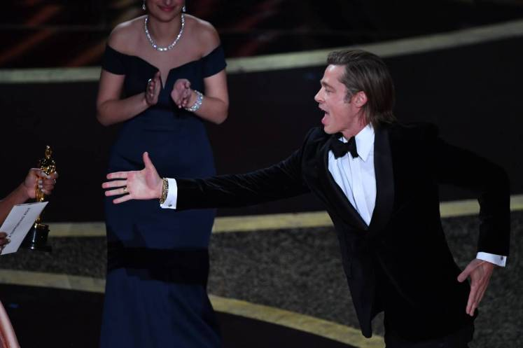 Brad Pitt dashed for his Best Supporting Actor Oscar! Photo: AFP