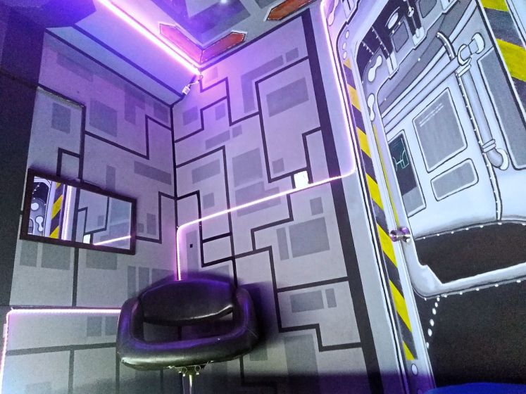 A repurposed 'command centre' chair tucked in the corner of the spaceship room. Photo: Ahmad Fathil Zakaria