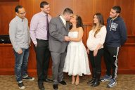 bride and groom kiss-nj wedding photography-perth amboy municipal court