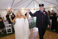 #backyardwedding, #justmarried, #njwedding, #apicturesquememoryphotography, #weddings, #pomptonlakesnjwedding, #firefighterwedding