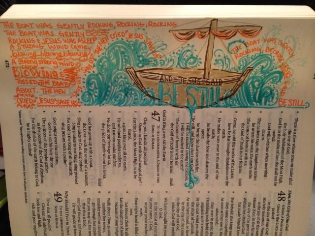 Journaling Bible | Jesus Said Be Still | apileofashes.com #journalingbible #artworship