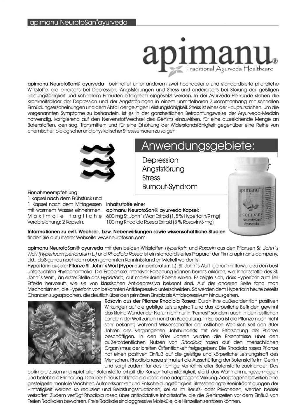 Produktbeschreibung apimanu NeurotoSan