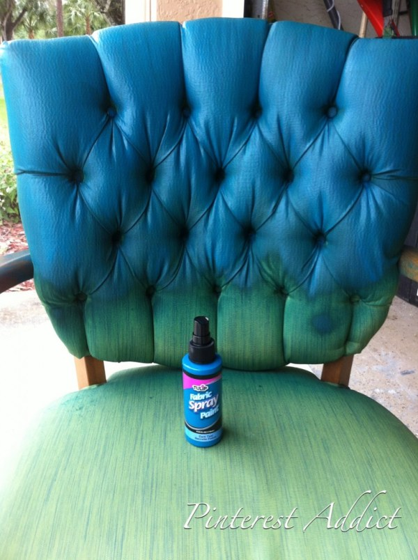Tulip Fabric Spray Paint in Teal made the makeover of this chair so easy!