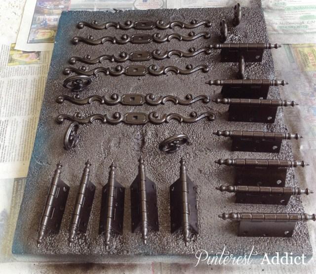 Cabinet hardware after Rustoleum ORB