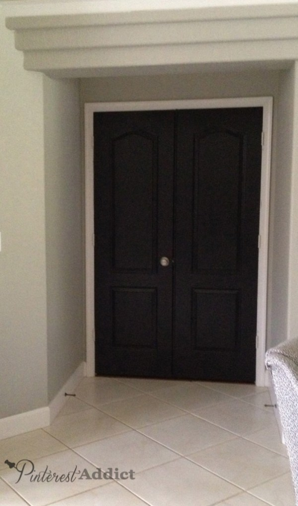Master bedroom black doors
