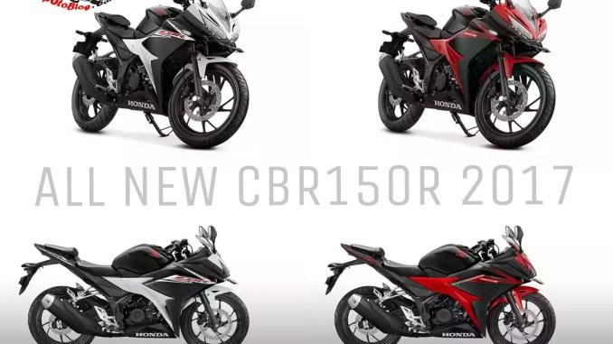 Harga foto dan warna baru CBR150R 2017 Slick Black White dan Victory Black apipotoblog.com