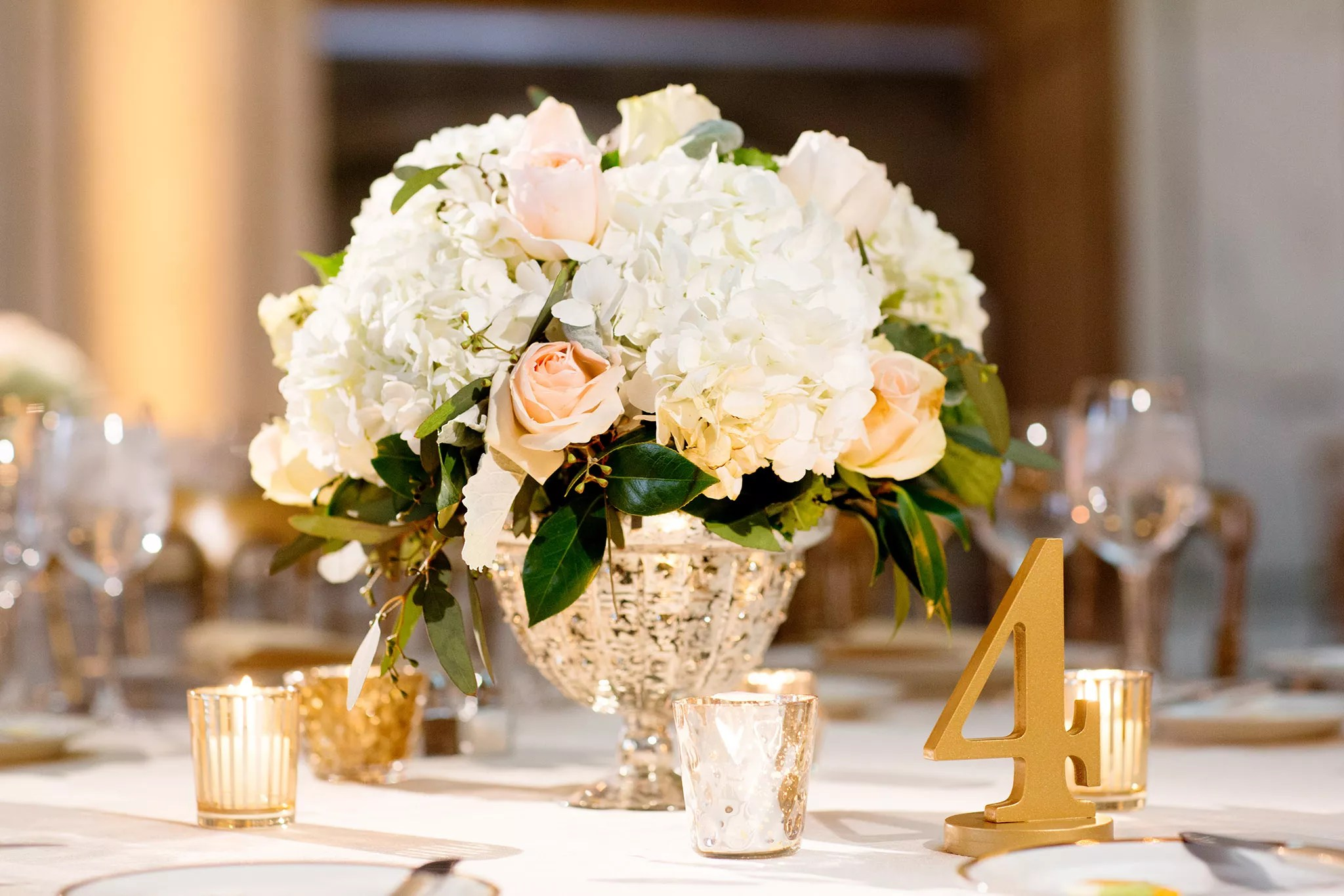 Neutral Flowers In Mercury Glass Centerpiece