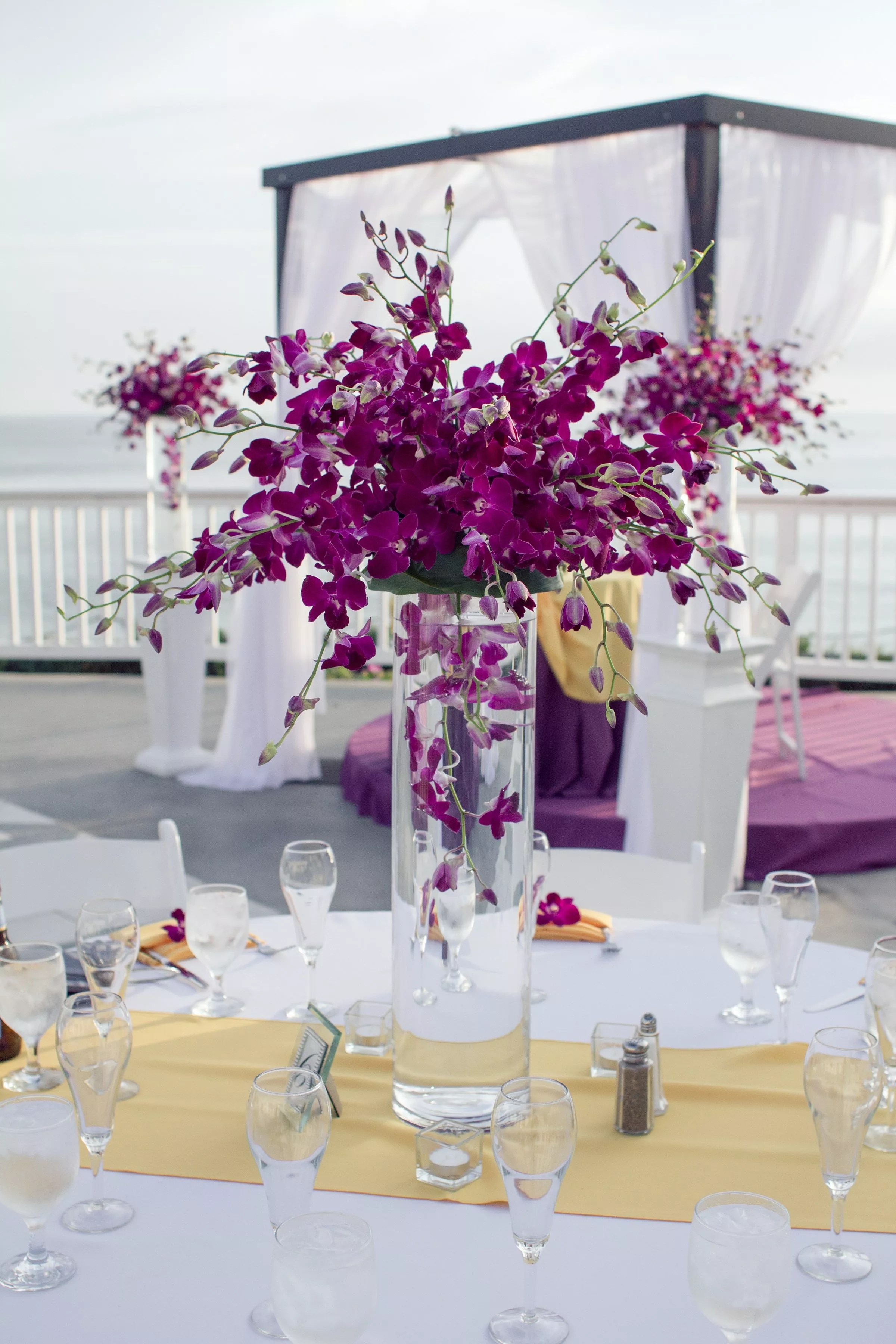 Tall Purple Orchid Centerpieces