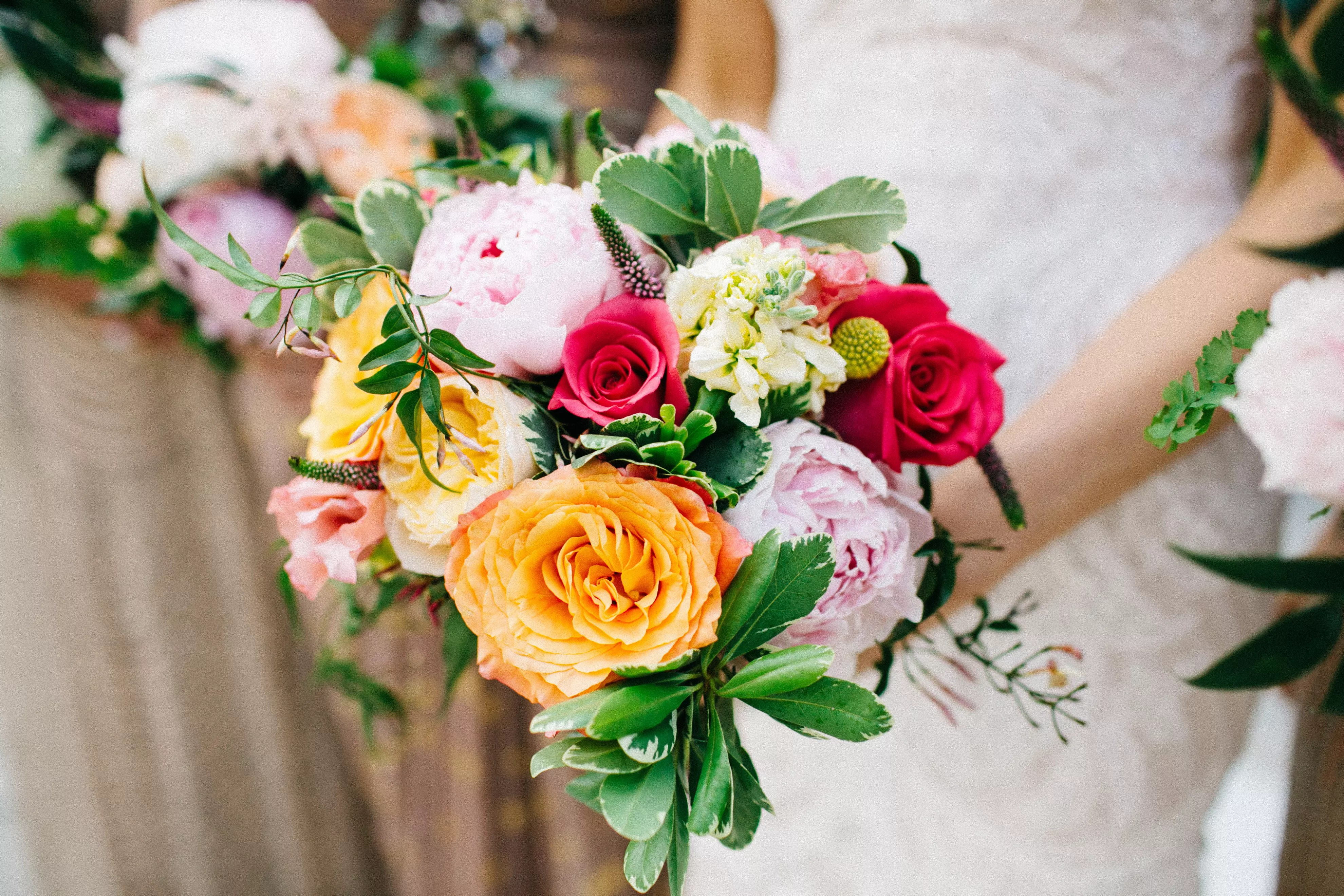 Bright Peach And Pink Bridal Bouquet