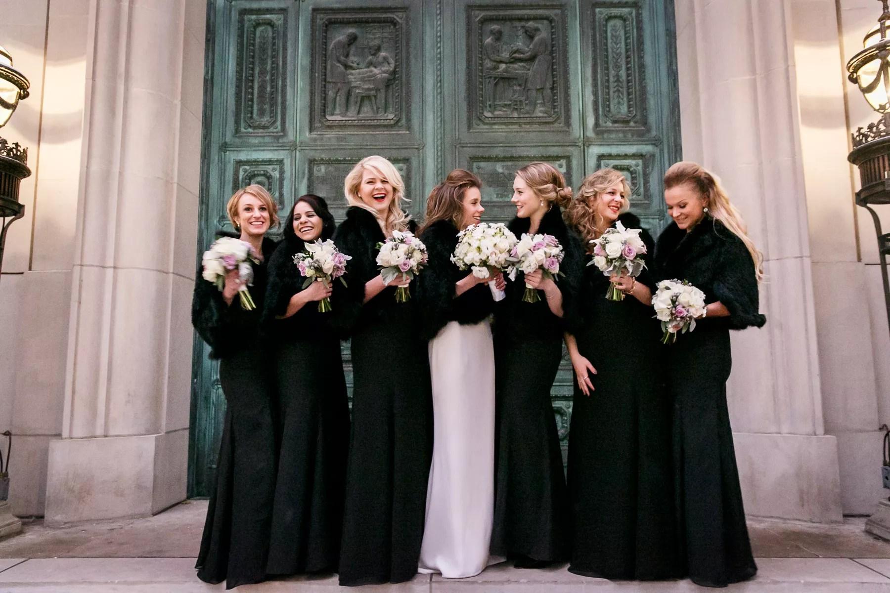Black Bridesmaid Dresses With Fur Wraps