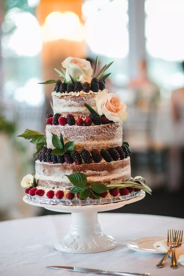 Fruit Wedding Cakes   Desserts Rustic Naked Wedding Cake with Fresh Fruit