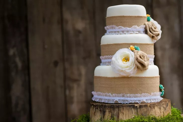 Burlap and Lace Lined Wedding Cake with Fabric Flower Toppers