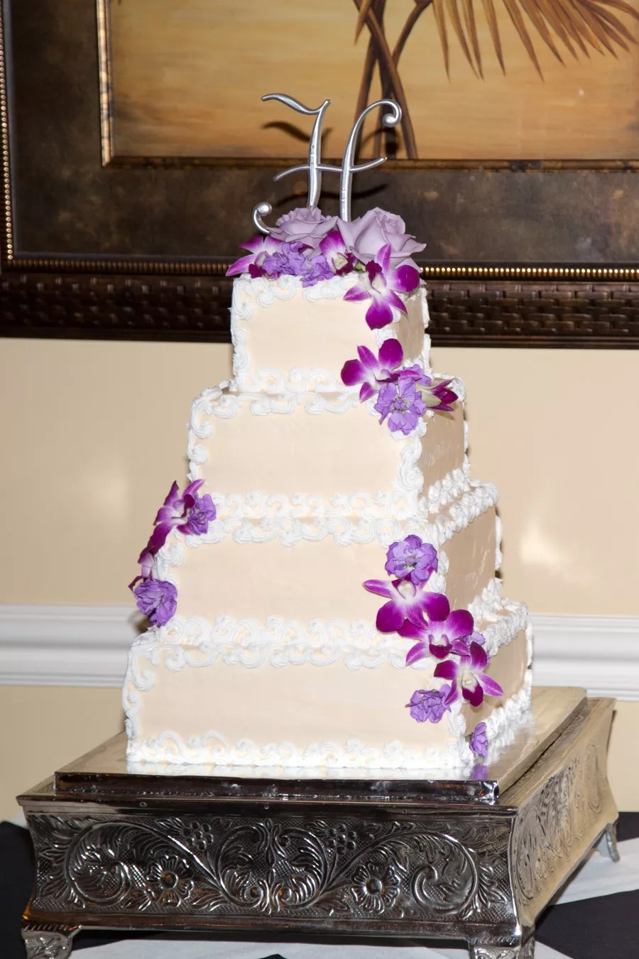 Square Wedding Cake With Purple Orchids