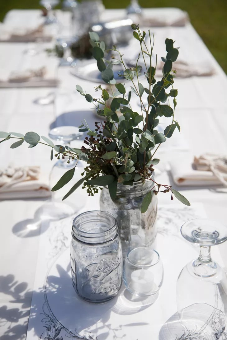 Eucalyptus Leaf Reception Centerpieces