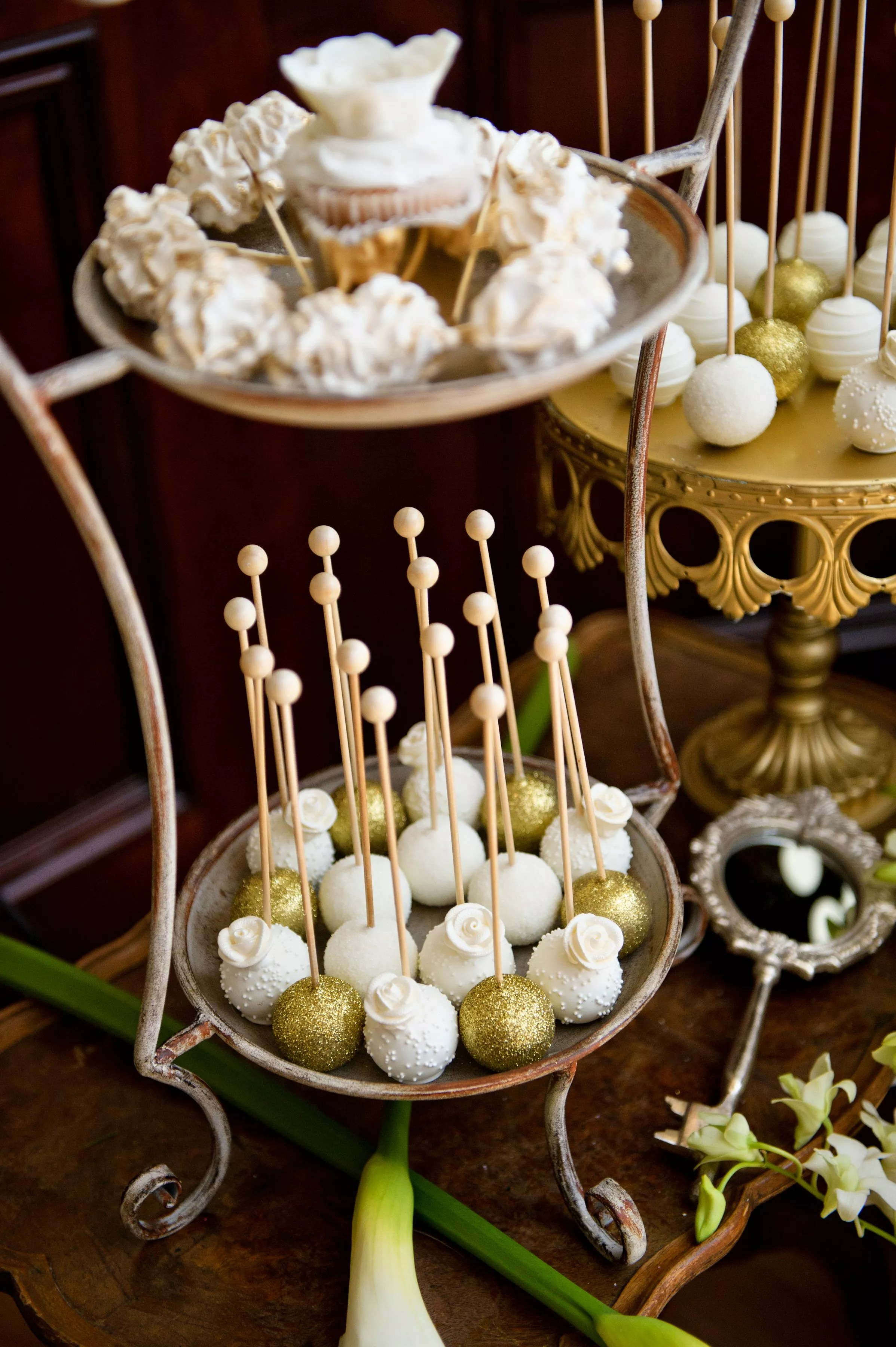Gold And White Cake Pops