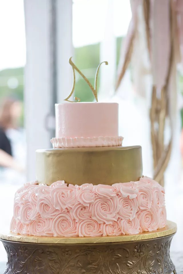 Pink And Gold Buttercream Wedding Cake