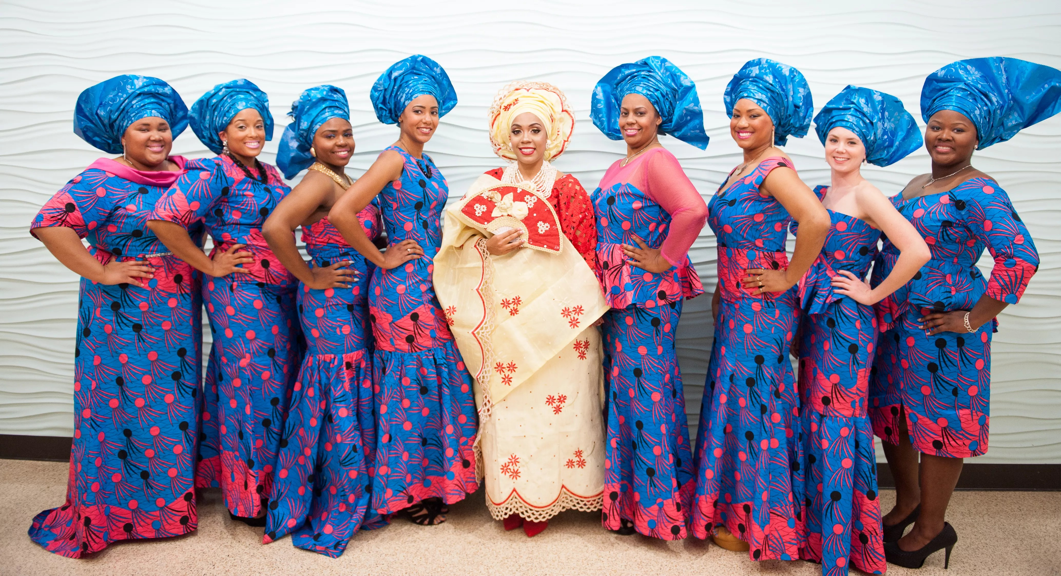 Teal And Red Nigerian Wedding Dresses