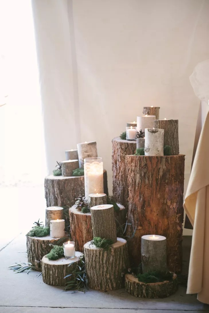 Tree Stump Centerpiece With Candles