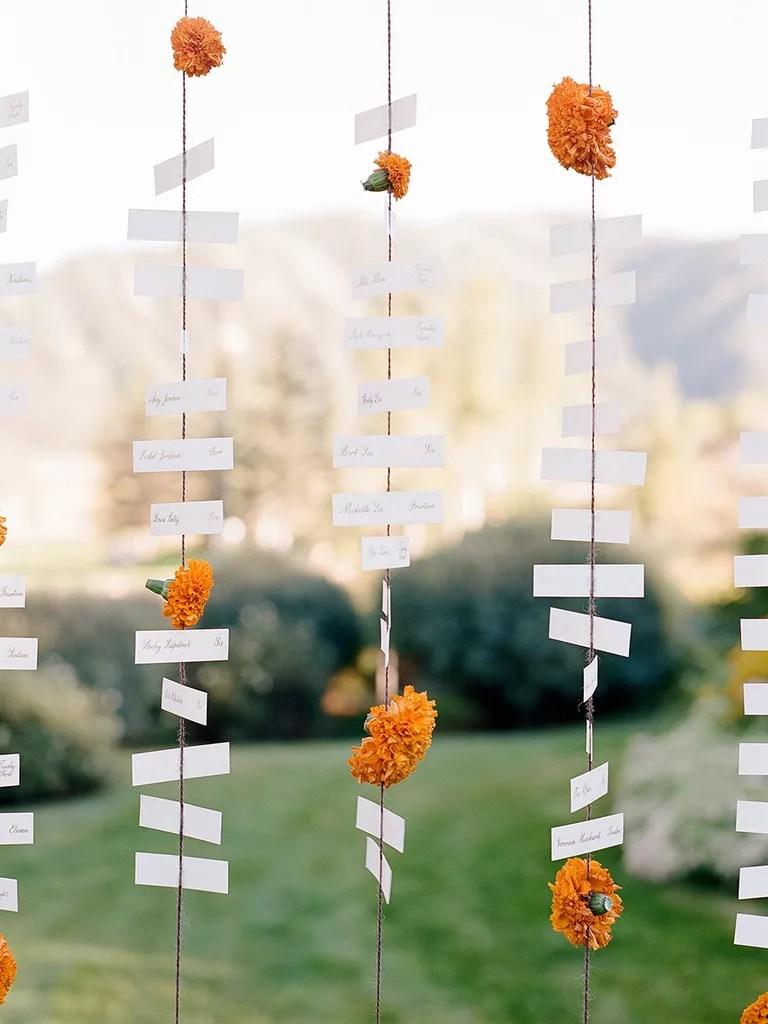 hanging escort cards