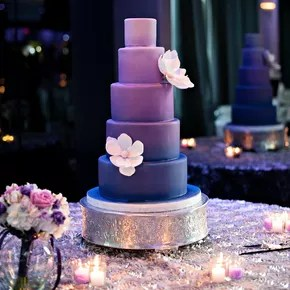 Tropical Cake Adorned With Purple FlowersTropical Cake with Adorned     Purple Ombre Wedding Cake