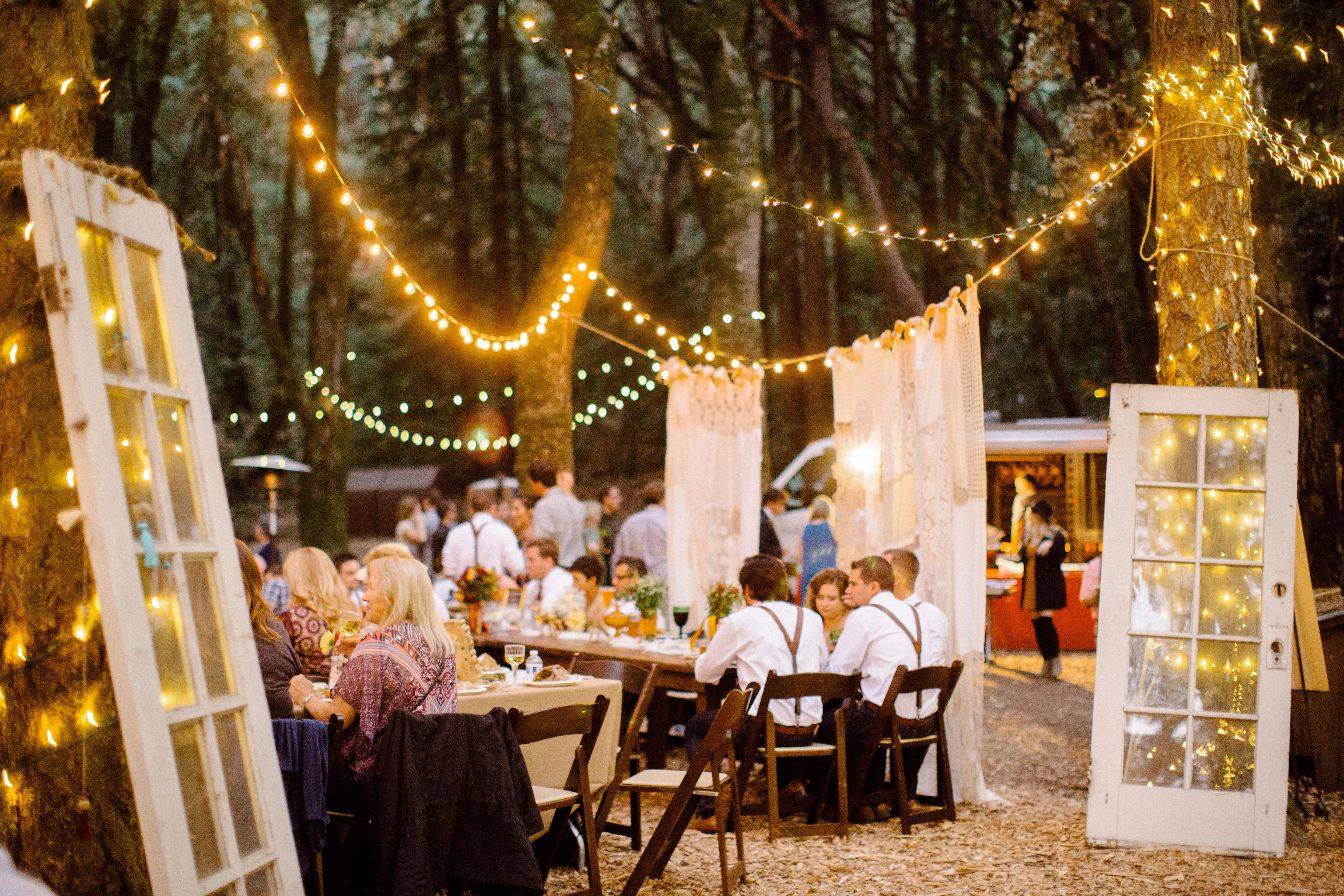 Outdoor Reception Setup With Market Lights