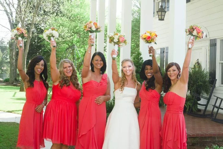 Knee Length Guava Bridesmaid Dresses